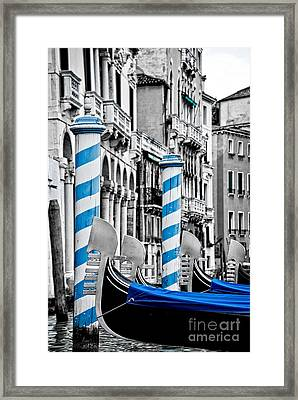 Blue Gondolas Framed Print by Delphimages Photo Creations