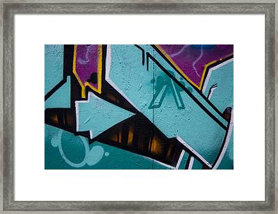 Blue Graffiti Arrow Framed Print by Carol Leigh