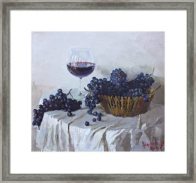 Blue Grapes And Wine Framed Print by Ylli Haruni
