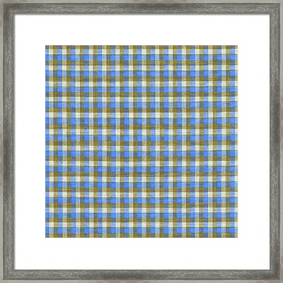 Blue Green And White Plaid Pattern Cloth Background Framed Print by Keith Webber Jr