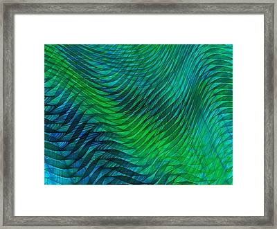 Blue Green Fabric Abstract Framed Print by Jane McIlroy