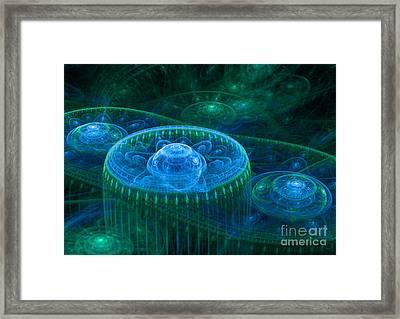 Blue Green Fantasy Landscape Framed Print by Martin Capek