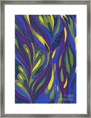 Blue Green Purple Abstract Silk Design Framed Print by Sharon Freeman