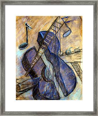 Blue Guitar - About Pablo Picasso Framed Print by Errol  Jameson