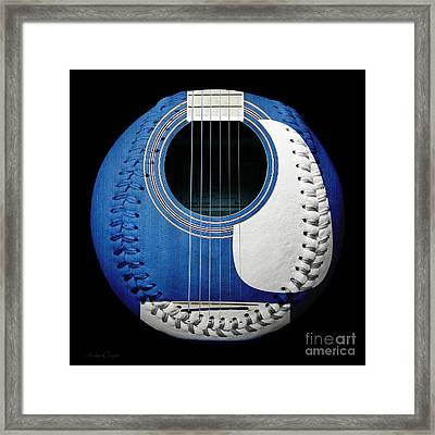 Blue Guitar Baseball White Laces Square Framed Print by Andee Design