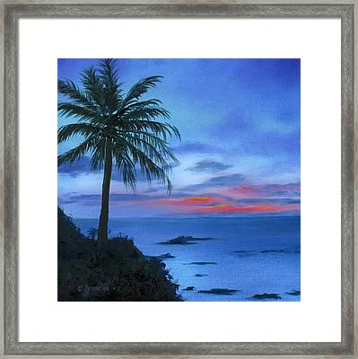 Blue Hawaiian Sunset Framed Print by Cecilia Brendel