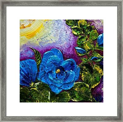 Blue Hollyhocks Framed Print by Paris Wyatt Llanso