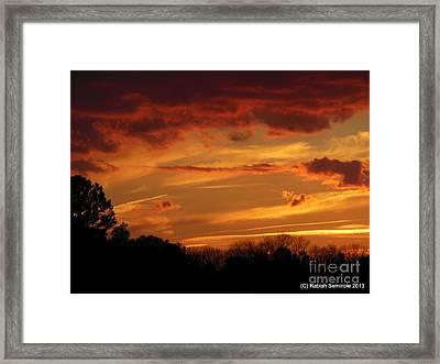 Blue Horse Sunset Framed Print by Rabiah Seminole