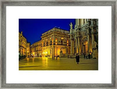 Blue Hour In Siracusa - Sicily Framed Print by Martin Liebermann