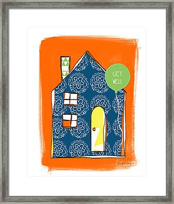 Blue House Get Well Card Framed Print by Linda Woods