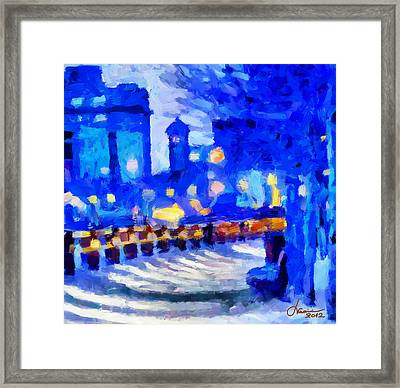 Blue January Night In The City Tnm Framed Print by Vincent DiNovici