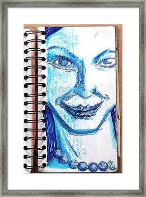 Blue Lady From A Sketchbook Framed Print by Del Gaizo
