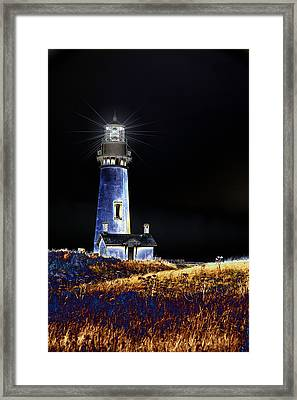 Blue Lighthouse Framed Print by Charrie Shockey