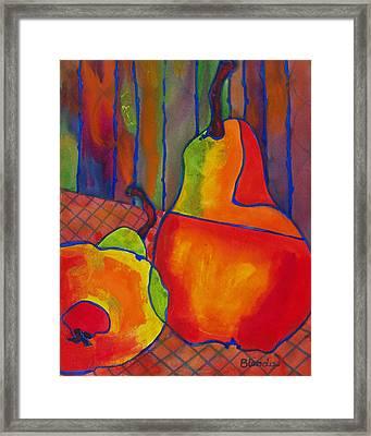 Blue Line Pears Framed Print by Blenda Studio