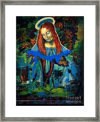 Blue Madonna In Tree Framed Print by Genevieve Esson