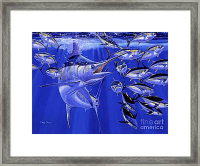Ocean City Framed Print featuring the painting Blue Marlin Round Up Off0031 by Carey Chen