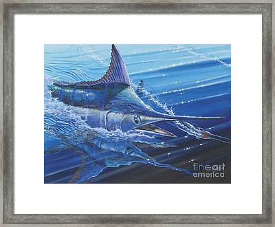 Blue Marlin Strike Off0053 Framed Print by Carey Chen