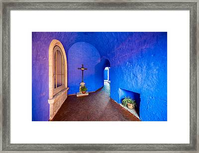 Blue Monastery Interior Framed Print by Jess Kraft