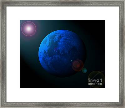 Man In The Moon Framed Print featuring the photograph Blue Moon Digital Art by Al Powell Photography USA