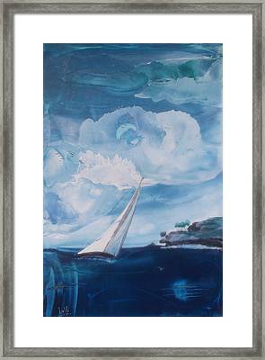 Blue Moon Sail Framed Print by Danita Cole