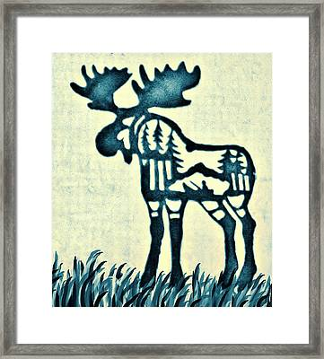 Blue Moose Framed Print by Larry Campbell