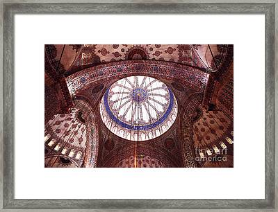 Blue Mosque Interior Framed Print by John Rizzuto