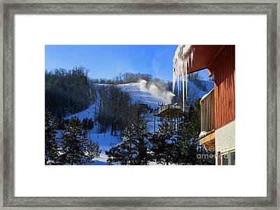Blue Mountain Ski Resort Framed Print by Charline Xia