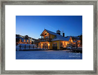 Blue Mountain Village Night Framed Print by Charline Xia