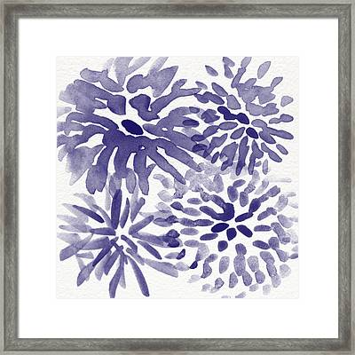 Blue Mums- Watercolor Floral Art Framed Print by Linda Woods