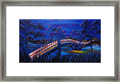 Blue Night Of St. Johns Bridge #14 Framed Print by Portland Art Creations