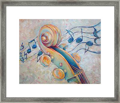 Blue Notes - Cello Scroll In Blues Framed Print by Susanne Clark