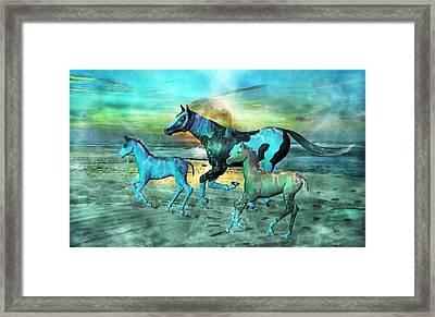 Blue Ocean Horses Framed Print by Betsy C Knapp