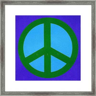 Blue Peace Symbol Framed Print by Art Block Collections