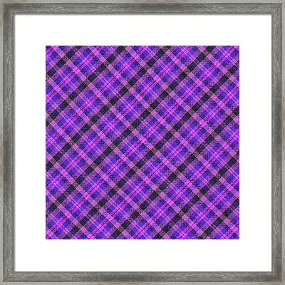 Blue Pink And Black Diagnal Plaid Cloth Background Framed Print by Keith Webber Jr