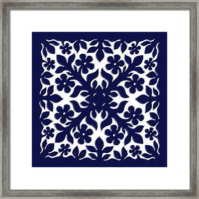 Blue Plumeria Quilt Framed Print by James Temple