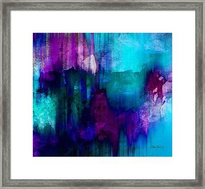 Blue Rain  Abstract Art   Framed Print by Ann Powell