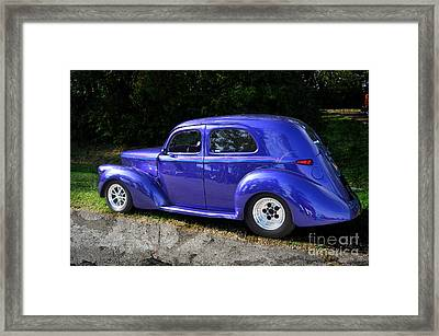 Blue Restored Willy Car Framed Print by Luther   Fine Art