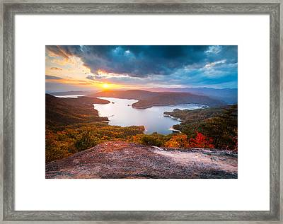 Blue Ridge Mountains Sunset - Lake Jocassee Gold Framed Print by Dave Allen