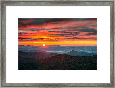 North Carolina Blue Ridge Parkway Nc Autumn Sunrise Framed Print by Dave Allen