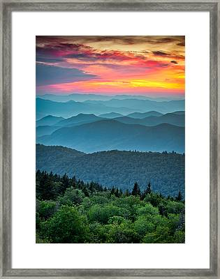 Blue Ridge Parkway Sunset - The Great Blue Yonder Framed Print by Dave Allen
