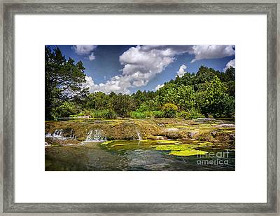 Blue River Water Falls Framed Print by Tamyra Ayles