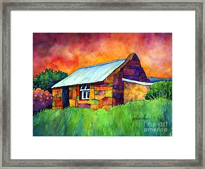 Blue Roof Cottage Framed Print by Hailey E Herrera