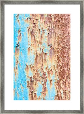 Blue Rusty Metal Framed Print by Tom Gowanlock