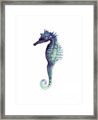 Blue Seahorse Framed Print by Joanna Szmerdt