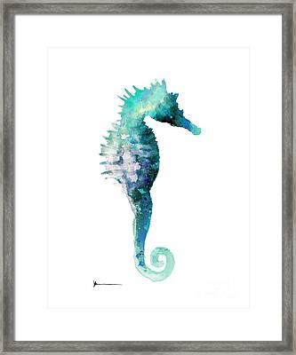 Blue Seahorse Watercolor Art Print Painting Framed Print by Joanna Szmerdt