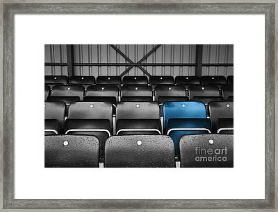 Blue Seat In The Football Stand Framed Print by Natalie Kinnear