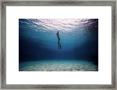 Blue Silence Framed Print by One ocean One breath