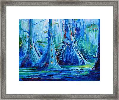 Blue Spirit Trees Framed Print by Janet Oh