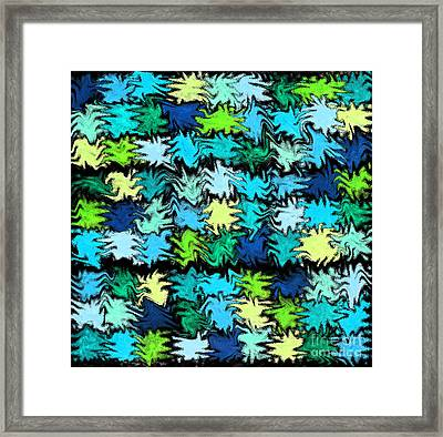 Blue Squiggle Quilt Abstract Framed Print by Karen Adams