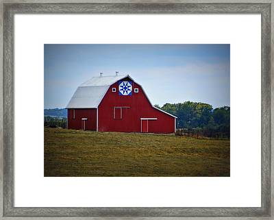 Blue Star Quilt Barn Framed Print by Cricket Hackmann